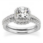 Diamond Cushion Cut Halo Engagement Set